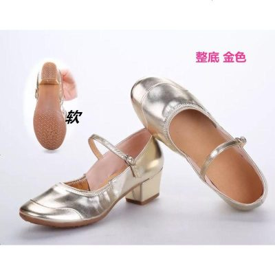 秋季广场舞鞋红色舞蹈鞋女成人交谊广场舞鞋子跳舞鞋软底中跟皮鞋