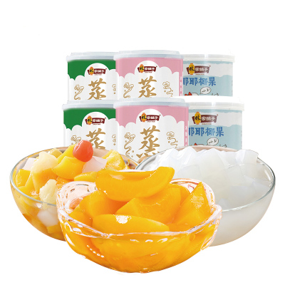 【林家鋪子旗艦店】冰糖黃桃椰果什錦組合200g*6罐水果罐頭進口品質