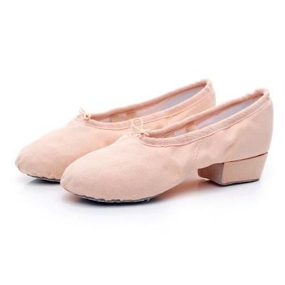教師鞋帶跟舞蹈鞋女帆布軟底練功鞋民族舞瑜伽肚皮舞鞋粉紅白黑綠