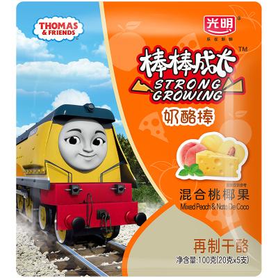 光明奶酪棒棒即食儿童奶酪棒儿童零食100g 5支装 混合桃椰果味