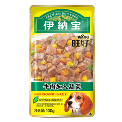 伊納寶 狗零食 旺好妙鮮牛肉雞肉粒包 狗罐頭拌糧犬濕糧包100g 牛肉+蔬菜 10包