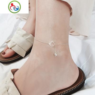 時尚可愛小貓鈴鐺925純銀腳鏈女韓版簡約性感學生配飾品閨蜜足鏈 JING PING