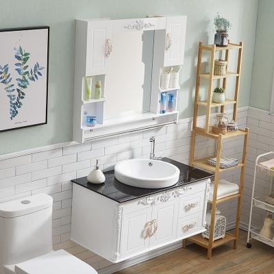 闪电客浴室柜组合欧式卫浴柜面盆柜洗手池洗漱台小户型卫生间洗脸盆套装 90cm双门双抽一体盆+配件