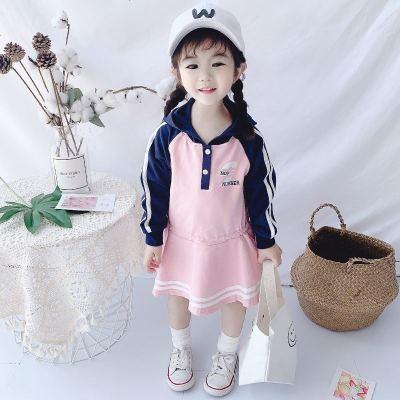 女童裙子新款小童休闲运动儿童连帽洋气长袖连衣裙女宝宝秋装