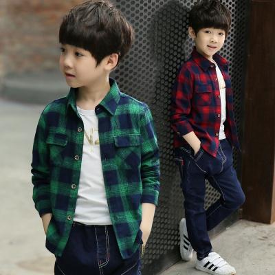 男童是时尚格子衬衫2018冬装新款儿童装中大童加厚衬衣长袖加绒上衣春季臻依缘