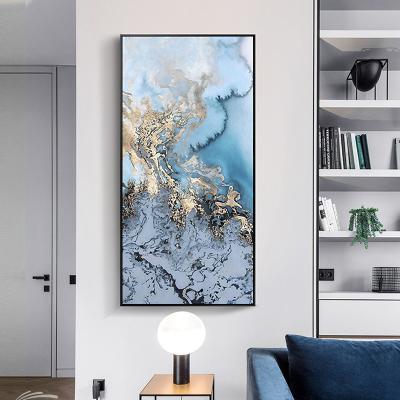 舒廳 玄關裝飾畫現代輕奢晶瓷畫金色琉璃抽象山水掛畫客廳沙發背景壁畫美 極光B款(拉絲黑色)鋁合金外框高160*寬80cm