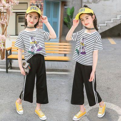 女童夏裝套裝新款短袖防蚊褲兩件套小女孩中大童洋氣童裝 莎丞
