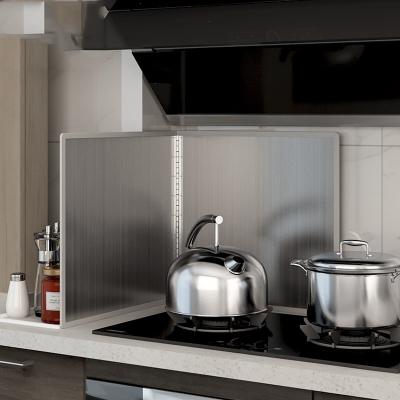 厨房不锈钢挡油板隔油挡板非铝箔防油挡板灶台防油溅挡板定制 高45深50两片折