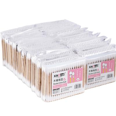 乾越(qianyue)1000只裝棉簽木棒棉棒球雙頭掏耳朵消毒化妝卸妝尖頭棉花簽棒 100只裝*10袋