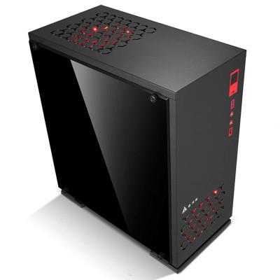 金河田预见N6PLUS台式电脑机箱游戏侧透背线M-ATX黑色组装机箱空箱