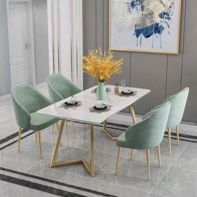 福崗 北歐大理石餐桌家用小戶型輕奢餐桌椅組合后現代簡約長方形飯桌子