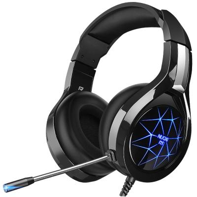 諾西 N1耳機頭戴式電腦耳機臺式電競游戲耳麥帶有線帶話筒臺式機筆記本手機女生男通用重低音(黑色基礎版雙孔七色發光)