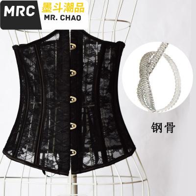 夏季超薄无痕蕾丝束腰收腹带corset钢骨宫廷塑身腰封腰夹透气