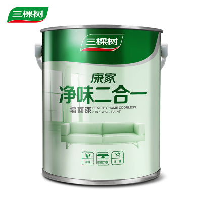 三棵樹漆康家凈味二合一乳膠漆白色內墻環保油漆涂料墻漆7KG