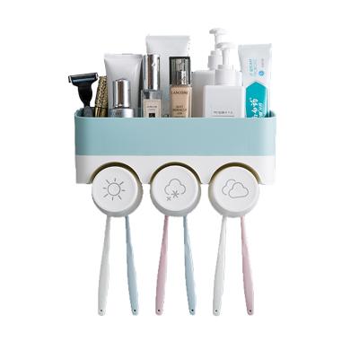 秀凈 免打孔壁掛式三口之家牙刷架洗漱套裝牙刷收納架浴室置物架塑料家庭漱口杯牙刷架