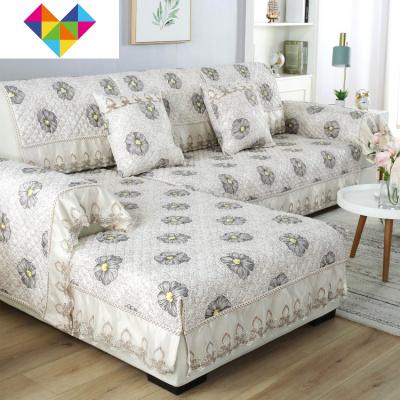 沙發墊四季通用布藝防滑簡約現代組合沙發套全包萬能套子罩巾 花洛咖 1+2+3尺寸為90*90+90*160+90*180