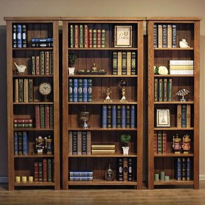 杞沐實木窄書柜書架白橡木書櫥儲物柜置物架美式簡約家居木質書柜