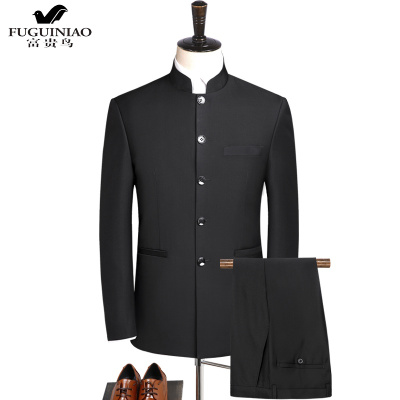 富贵鸟(FUGUINIAO)中山装西服套装男士中青年修身中华立领西服中式结婚礼服宴会中国风唐装