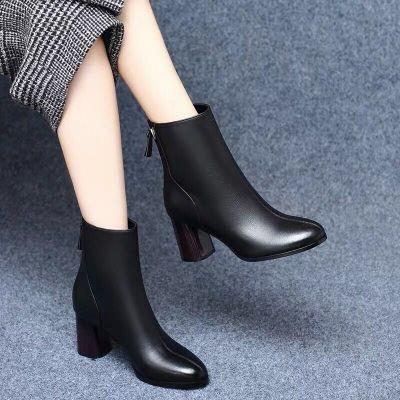 BOMINA女粗跟19秋冬新款圓頭百搭加絨加厚女裸靴子中跟(3-5厘米)女