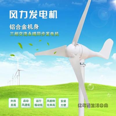 定做 小型風力發電機220V100W300W500W家用風光互補路燈12V24V