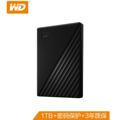 西部數據(WD)New My Passport隨行版1TB 2.5英寸USB3.0 西數密碼保護自動備份)移動硬盤 黑色