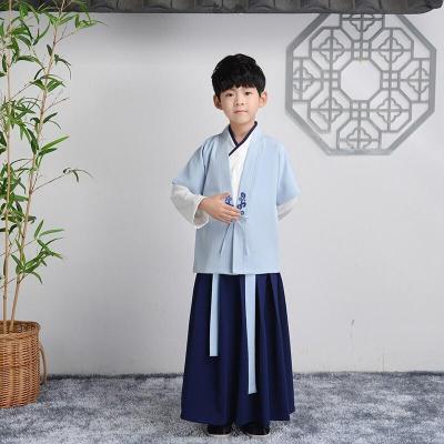 漢服女童小學生國學服男童中國風古裝女書童服裝兒童元旦演出服男