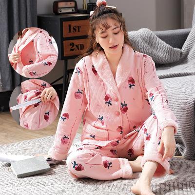 貝憶軒孕產婦月子服睡衣 孕產婦睡衣空氣棉冬季夾層棉加厚保暖月子服春秋產后產婦哺乳衣套裝家居服/哺乳裝/喂奶衣服飾