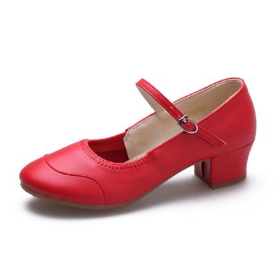 因樂思(YINLESI)舞蹈鞋跳廣場舞的鞋子真皮圓頭四季夏季軟底透氣健身跳鞋