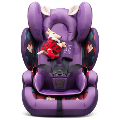 貝貝卡西安全座椅9月-12歲兒童安全座椅3C認證汽車車用嬰兒車載寶寶座椅LB509 紫色鳶尾