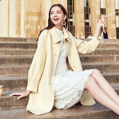 三彩冬季新款長款燈籠袖雙面呢羊毛呢外套大衣