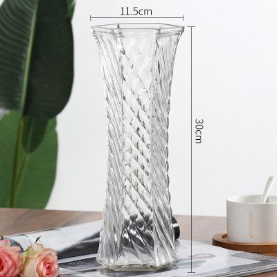 創意大號透明六角玻璃花瓶水養富貴竹百合鮮花插花瓶家用客廳擺件 30六角【斜紋款】