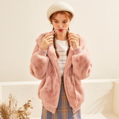 【1件3折价:194.7】美特斯邦威涤纶服女2019新款潮流通勤纯色保暖冬季开衫外套女