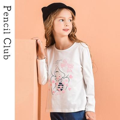 铅笔俱乐部童装2020春装新款女童长袖T恤中大童卡通上衣儿童T恤
