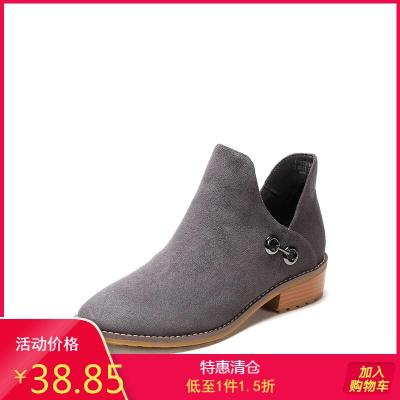 鞋柜冬新款杜拉拉時尚粗跟短靴金屬扣絨面V口靴子女1717505061