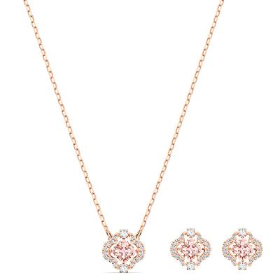 Swarovski 施華洛世奇 SPARKLING DANCE 粉色耀動的心項鏈耳飾首飾套裝 鍍玫瑰金色 5516488