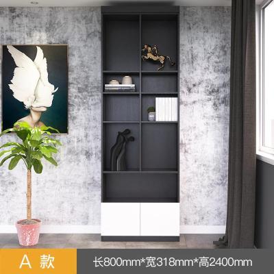 北歐 簡約現代組合書柜 落地儲物收納柜閃電客客廳整面墻到頂書架可 A款:黑橡木配天使白色 0.8-1米寬