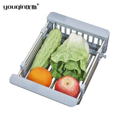 優勤廚房碗碟置物架不銹鋼水池瀝水架洗菜水果盆濾水籃塑料可伸縮瀝水盆 瀝水籃