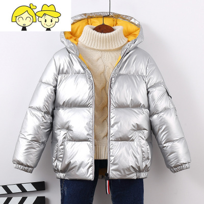 反季儿童羽绒服加厚冬童装男童女童银色太空服宝宝面包服冬装外套