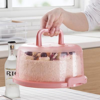 手提便攜蛋糕盒8寸烘焙包裝盒家用烘培工具生日蛋糕塑料透明盒子 綠色