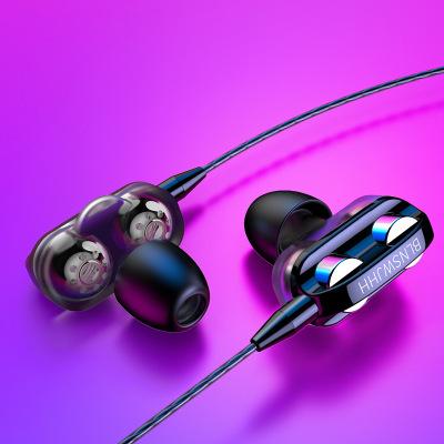 新雙動圈重低音耳機適用oppo華為vivo帶麥K歌入耳式耳塞手機通用