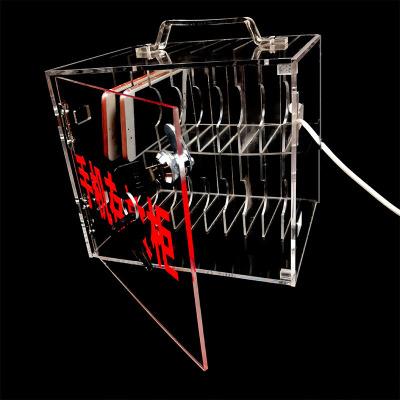 藝可恩手機存放盒透明存放柜員工收納有機玻璃盒子存放箱方形寄存柜