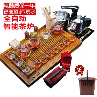 唐宏坊 雙龍戲珠茶具套裝 整套茶具實木茶盤 一體式電熱爐全自動上水 玻璃 整套功夫茶具套裝 款式十四雙龍戲珠玻璃茶具套裝