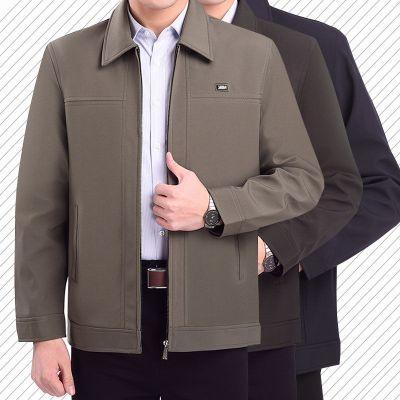 春秋季中老年外套男裝中老人中年夾克加厚爸爸男士直筒外套威珺
