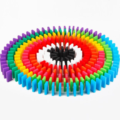 【蘇寧好貨】木質120片加大號彩色骨牌多米諾積木2-3-6歲疊疊高拼搭玩具