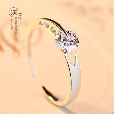 春节礼物 原创设计活口银戒指女日韩潮人学生个性开口指环单戒S925纯银饰品
