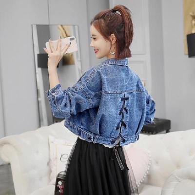 牛仔外套女2019春装新款女韩版翻领长袖绑带牛仔短外套显瘦短装威珺