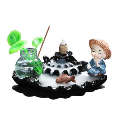 倒流香爐陶瓷香薰爐室內創意檀香熏香爐香插擺件-春色滿園-黑款(送60顆香) 連連有魚-不動(送60顆香)