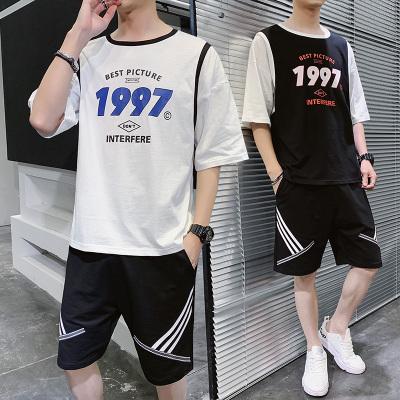 墨爾斯特(MO ER SI TE)2020夏季新款學生男運動假二件薄款吸汗休閑寬松球衣套裝男TZ229