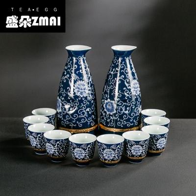 日式藍釉霽藍陶瓷青花瓷清酒白酒盅烈酒杯酒壺分酒器喝酒杯子家用-ph01