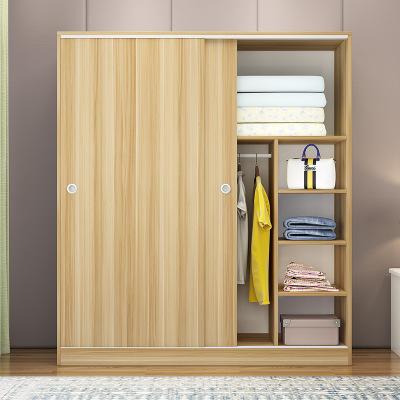 羅森朗 簡易衣柜簡約現代組裝實木板式柜子兒童臥室經濟型木質簡易推拉門衣櫥